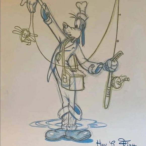"Disney Goofy ""How To Fish"" Clean Up Art Print"